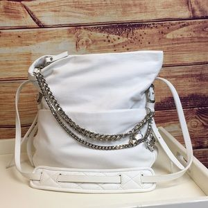 Authentic Jimmy Choo White Leather Bag w/ Chains